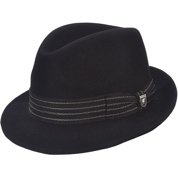Stacy Adams Men's Felt Center Dent Fedora Black Hats ($56) ❤ liked on Polyvore featuring men's fashion, men's accessories, men's hats, black, mens hats fedora, mens felt hat, mens fedora hats and mens hats