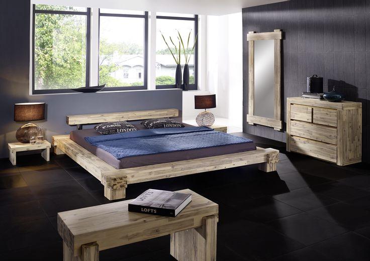 SAM® Massives Holzbett Akazie weiß lasiert 140 x 200 cm Lolita Bestellware ! itemprop=