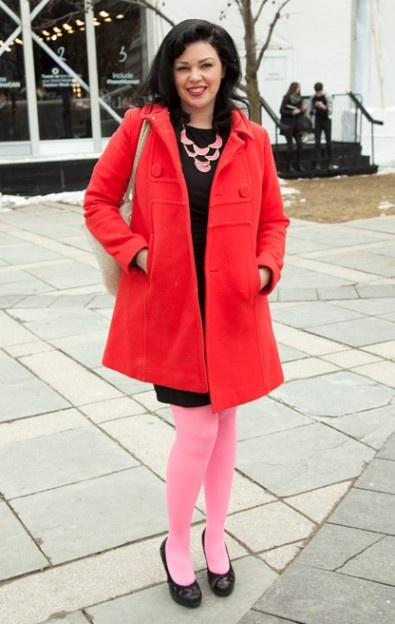 Tara Jarmon coat | Kara by Kara Ross necklace | MATIS by Lucian Matis dress | Kara Ross python tote | H tights | Street Style Trend Report: bright pink and red at Toronto Fashion Week - Gallery | torontolife.com