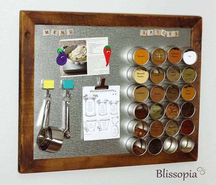 Magnetic Spice Rack, Framed Magnetic Board, Kitchen Organizer by Blissopia on Etsy https://www.etsy.com/listing/477184961/magnetic-spice-rack-framed-magnetic