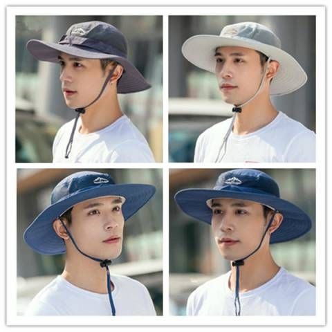 Wide brim bucket hat with string for men UV outdoor fishing hats