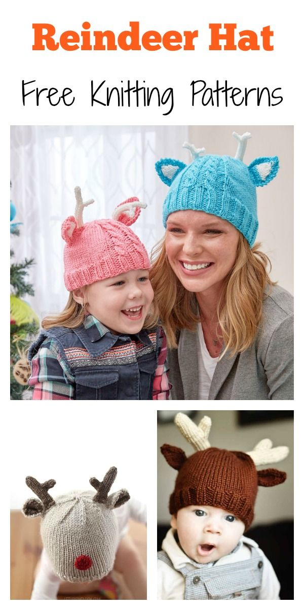 Reindeer Hat Free Knitting Pattern  freeknittingpattern  hats  christmas 3c5a30b1c6a