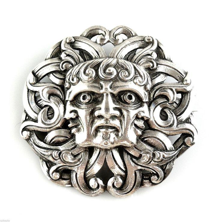 Superb Antique H Moller Trondhjem Arts Crafts Dragestil 830 Silver Brooch Pin