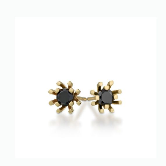 SALE black diamond earrings small diamond studs tiny by GOLDnBERG