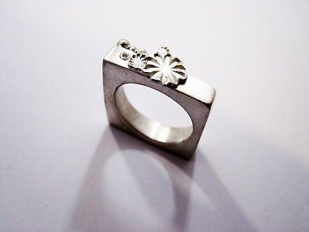 Zandstorm: Vierkante ring in zilverklei (Art Clay Silver,ringen)