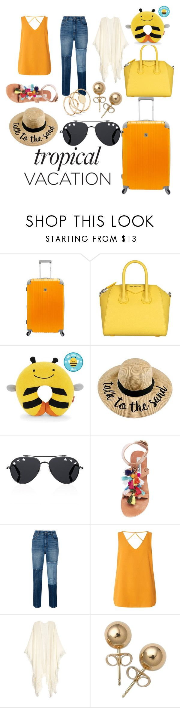 """""""#tropicalvacation outfit 💛💛🐝"""" by yatsina ❤ liked on Polyvore featuring Beverly Hills Country Club, Givenchy, Skip Hop, Steve Madden, STELLA McCARTNEY, Dorothy Perkins and Bling Jewelry"""