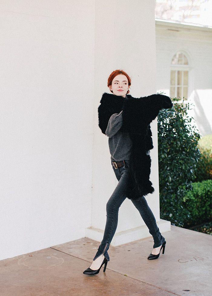 Anine Bing jeans, Dries Van Noten pumps, RRL D-Ring belt,