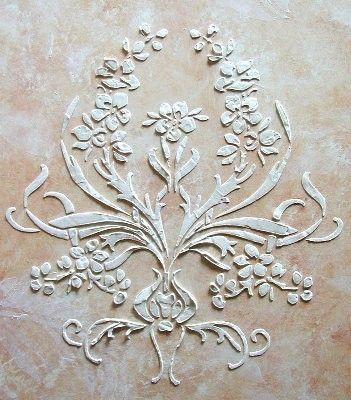 Soulevé de plâtre Brassio Frise pochoir par VictoriaLarsenDecor, $16.99