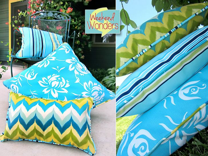 Weekend Wonders with Fabric.com: Outdoor Piped Pillow Trio | Sew4Home: Pillows Trio, Cushions Pillows, Pipes Pillows, Pillows Tutorials, Pillows Patterns, Outdoor Pillow, Pipes Cushions, How To Make Outdoor Cushions, Outdoor Pipes