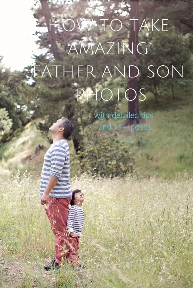 Tips for taking amazing father and son photos (can be applied to daughters) with 15+ poses. Perfect for Father's Day.