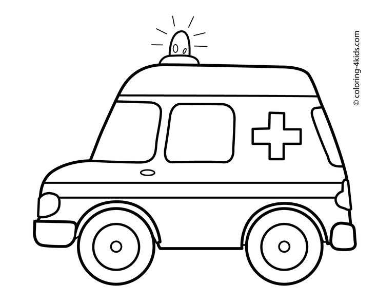 Ambulance Car Transportation Coloring Pages For Kids