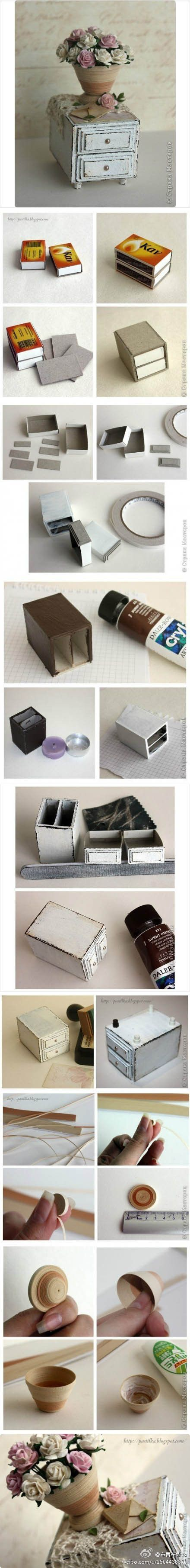 I've been meaning to make something like this forever, now I found a great tutorial for it!!!  make a cute mini commode out of matchboxes!!
