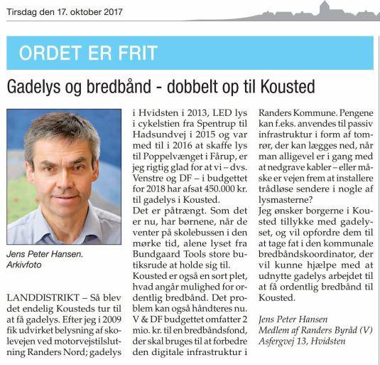 Siden jeg ved KV97 fik 12 stemmer i Kousted har denne lille hyggelig landsby altid haft en særlig plads i min bevidsthed.