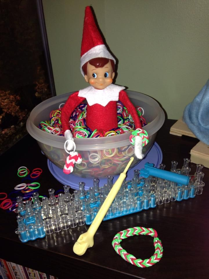 ELf on the Shelf Rainbow Loom with matching bracelets