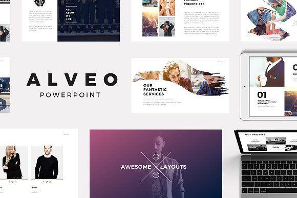 Alveo Minimal PowerPoint Template by Slidedizer on @creativemarket
