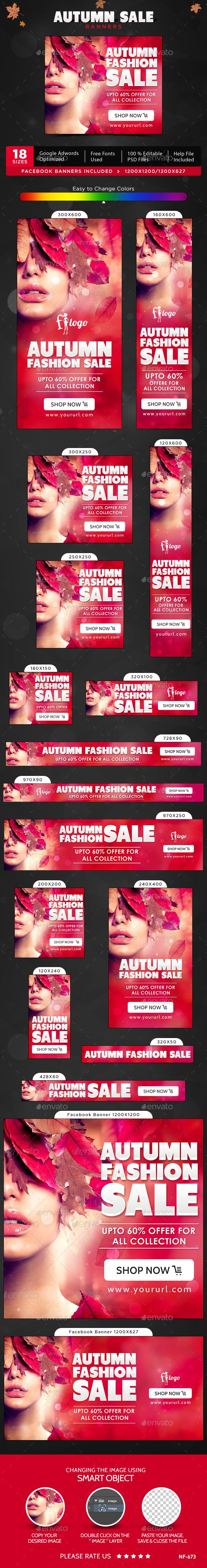 Autumn Sale Web Banners Template #design #ads Download: http://graphicriver.net/item/autumn-sale-banners/13092961?ref=ksioks