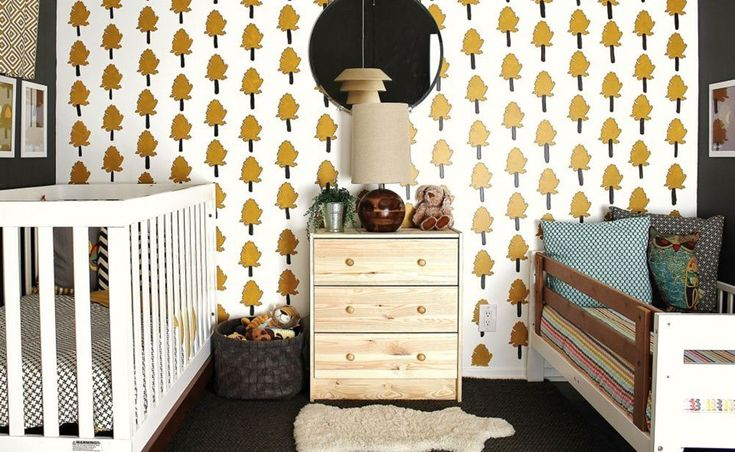 baby-toddler shared room Tyler & Lucas' Scandinavian MCM Room Kids Room Tour | Apartment Therapy