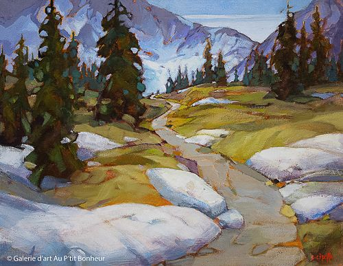 Susie Cipolla, 'Path Through The Alpine', 14'' x 18'' | Galerie d'art - Au P'tit Bonheur - Art Gallery