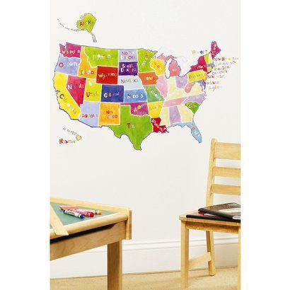 Wallies® Wall Play US State Map Peel & Stick décor.Opens in a new window