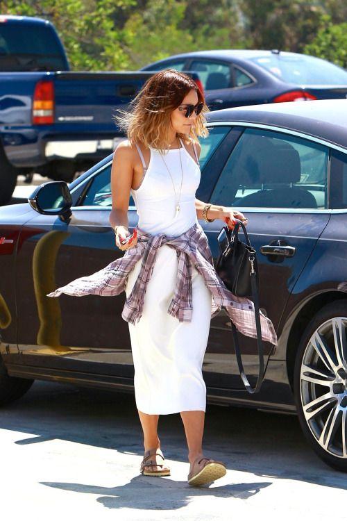 white dress + plaid