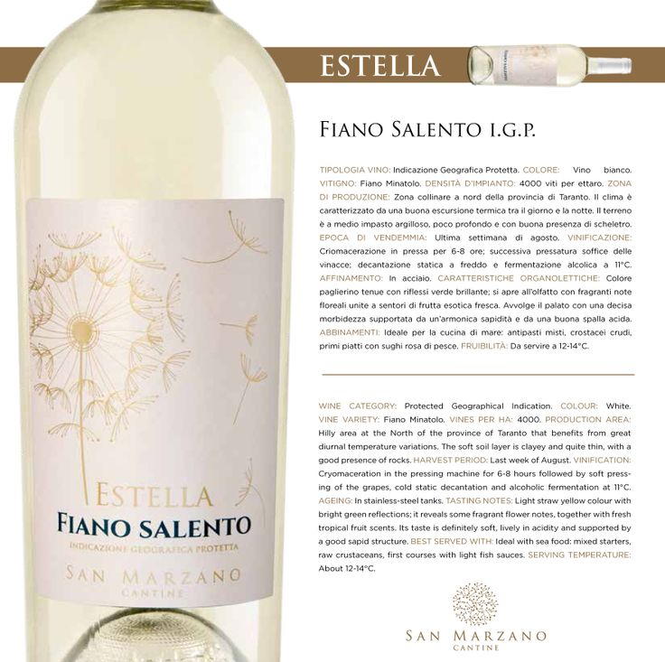 Fiano #Salento I.G.P.:colore paglierino tenue con riflessi verde brillante;si apre all'olfatto con fragranti note floreali unite a sentori di frutta fresca. Avvolge il palato con una decisa morbidezza supportata da un'armonica sapidità e da una buona spalla acida. Light straw yellow colour with bright green reflections;it reveals some fragrant flower notes, together with fresh tropical fruit scents.Its taste is definitely soft,lively in acidity and supported by a god sapid structure. #vino…
