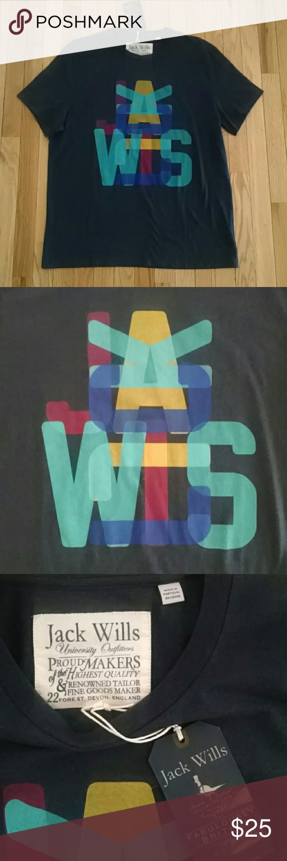 NWT Jack Wills Men's Graphic T Shirt XL Navy blue short sleeve tee with multicolored Jack Wills graphic. In excellent condition. Comes from a smoke free, pet free home. Jack Wills Shirts Tees - Short Sleeve