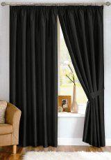 Java Faux Silk Black Pencil Pleat Curtains (with tiebacks)