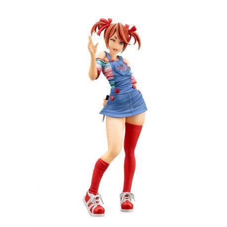 Figurine Chucky version Bishoujo de la série de film La Fiancée de Chucky (child play) en PVC à l´échelle 1/7 taille env. 20 cm, en emballage boîte-fenêtre, tête interchangeable.