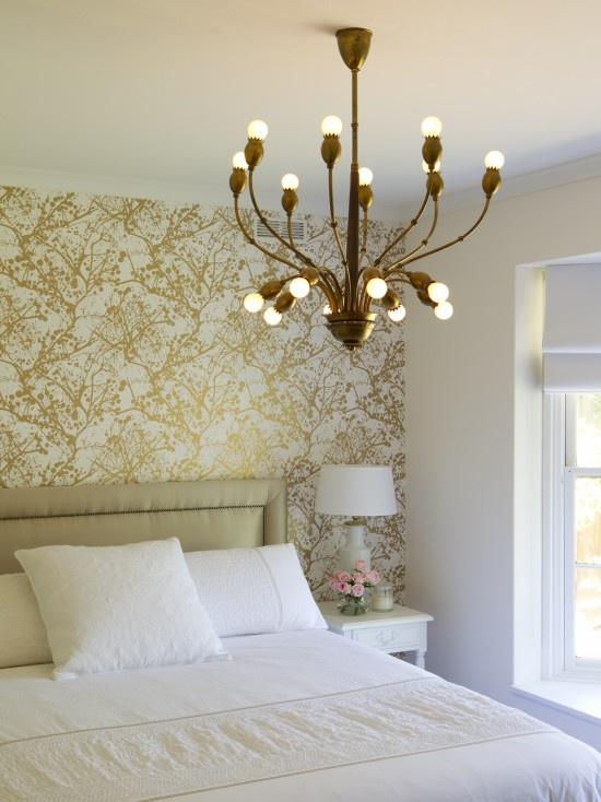 Simply elegantContemporary Bedroom, Lights Fixtures, Design Trends, Bedrooms Design, Interiors Design, Bedrooms Wallpapers, Wall Design, Wallpapers Design, Accent Wall