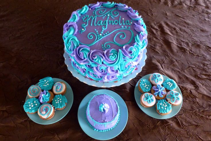 Rose cake, smash cake, fairy cakes, purple and teal, first birthday