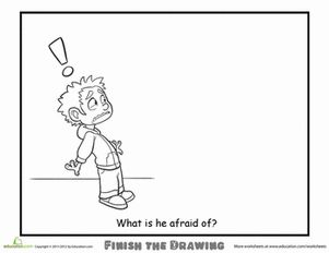 Second Grade People Worksheets: Finish the Drawing: What is he Afraid Of?