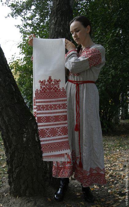 """Славянский свадебный рушник """"Всходы"""" - ярко-красный,свадебный рушник,славянский рушник"""