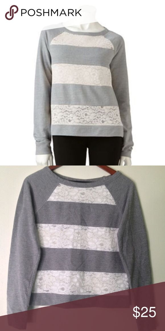 LC Lauren Conrad // Lace Striped Sweatshirt Lace striped sweatshirt from Lauren Conrad's LC Collection. Grey sweatshirt material and white lace. Lace stripes are sheer. Has been worn, in great condition. LC Lauren Conrad Tops Sweatshirts & Hoodies