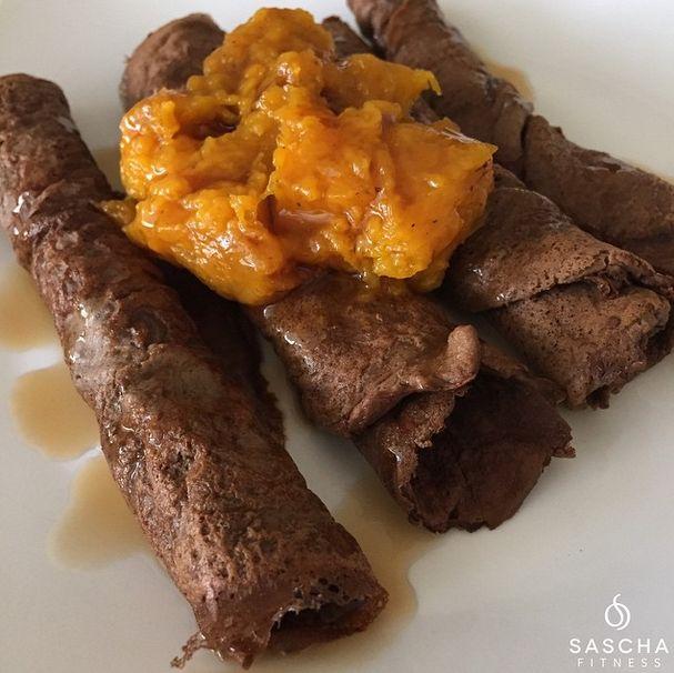 Crepes de chocolate baja en carbohidratos - Sascha Fitness