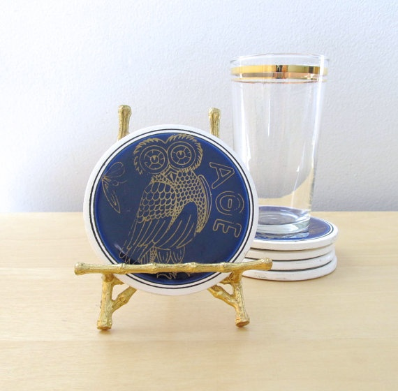 greek mythology ceramic coasters