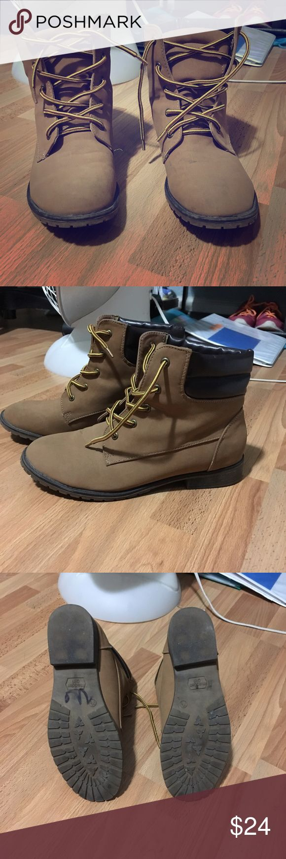 Madden girl timberland style brown tan laced boots Great condition and style but too small for me so hardly worn Madden Girl Shoes Ankle Boots & Booties