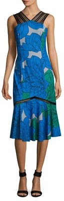 Tracy Reese Printed Lace Strapped A Line Dress