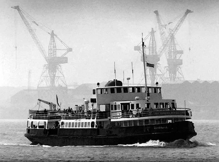 "Mersey ferry ""Woodchurch"" , Lairds in background , 1986"