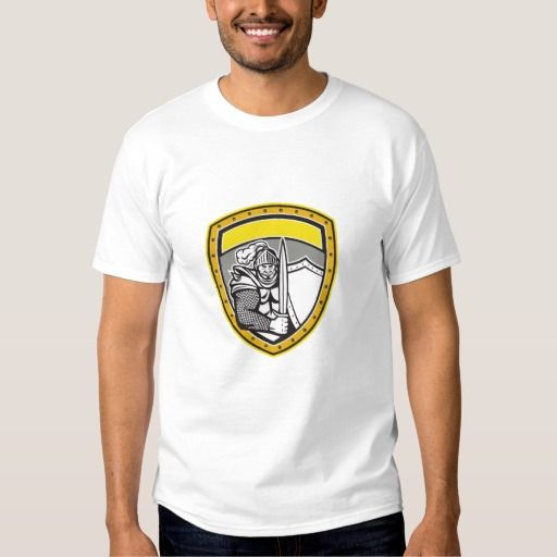 Knight Full Armor Open Visor Sword Shield Crest Re T-shirt. Illustration of a knight in full armor with open visor holding sword and shield viewed from the front set inside shield crest done in retro style. #Illustration #KnightFullArmorOpenVisorSword