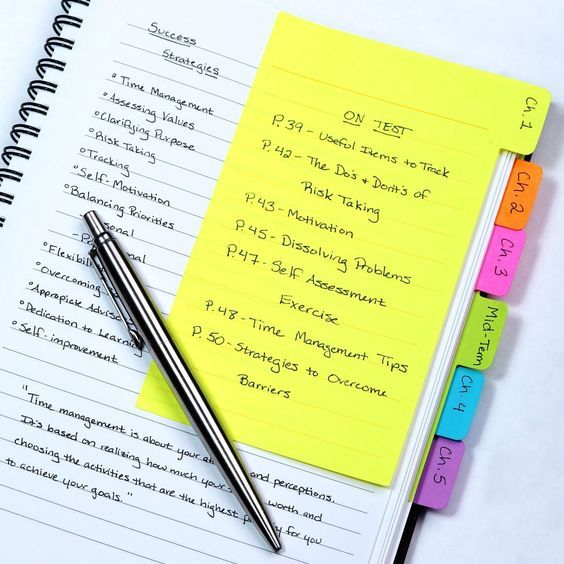 And if you must take notes in your textbooks, write them down on these ruled sticky notes instead so you can easily sell back the books.