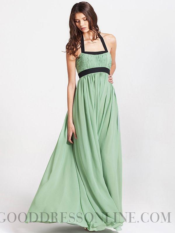 2015 Elegant A-line Floor-length Halter Ruffles Prom Dresses