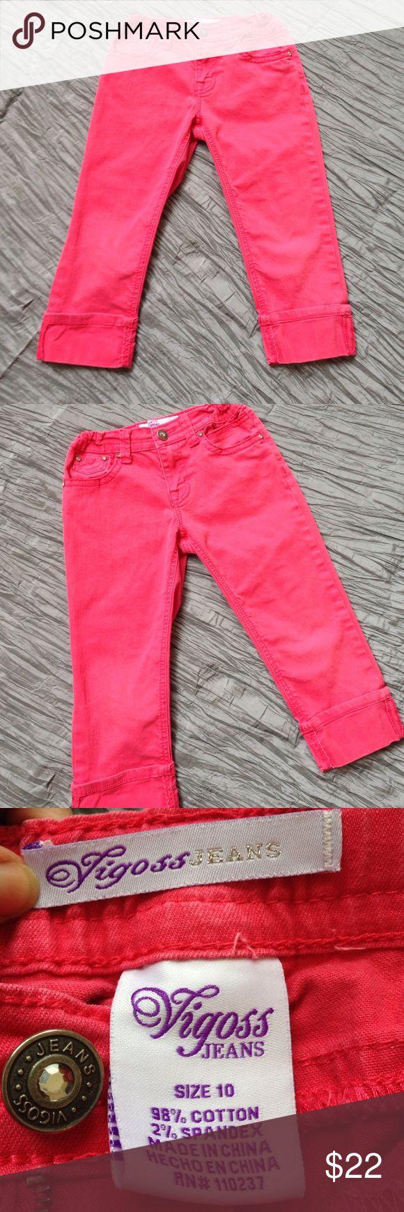"Girl's Vigoss pink denim capri Cuffed leg. 15"" inseam. 7"" rise. Rhinestones on pockets. Adjustable waist. Vigoss Bottoms Jeans"