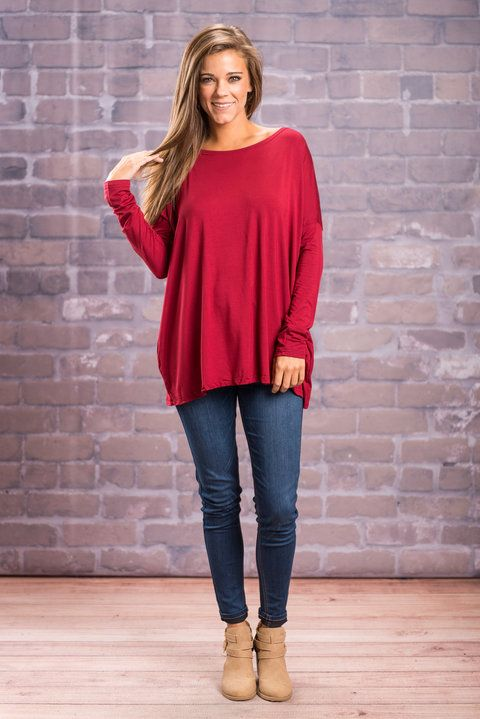 """Oh So Easy Piko Top, Wine""PIKO tops are here!! If you do not own one of these tops, you are missing out! We are loving the gorgeous color and super soft material.  #newarrivals #shopthemint"
