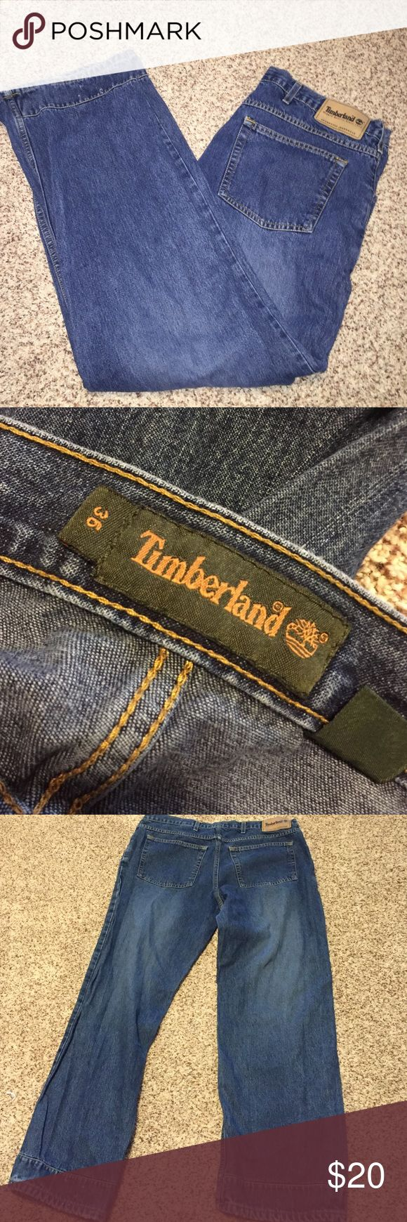 "Timberland jeans 36x30 Easy care 100% cotton inseam is approx 30 1/2"" pre owned in good condition no stains only flaw is small holes in bottom back left cuff please see last photo. Timberland Jeans"