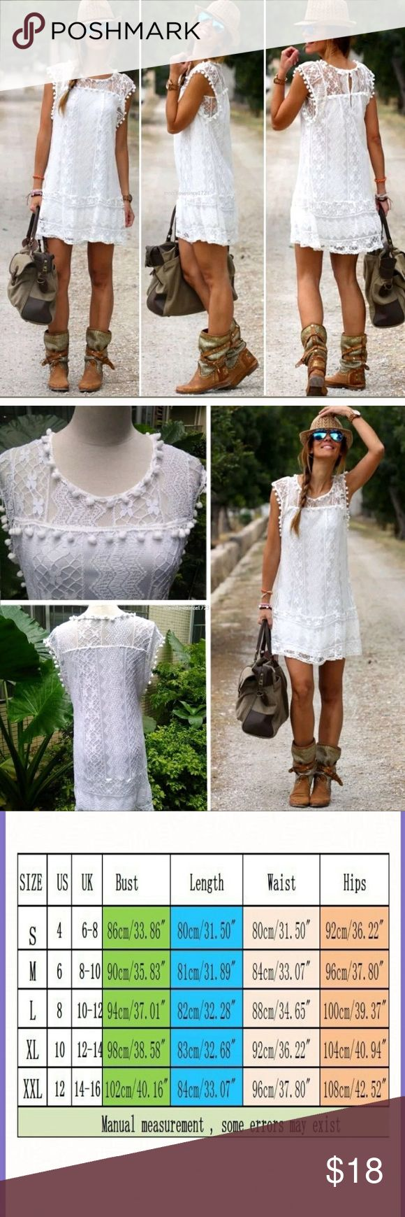 Women's Sleeveless Summer Sheath Dress Beautiful white lace dress with nylon lining. Has fun Pom Pom details along the edges. Would make a good bathing suit cover up! Dresses Mini