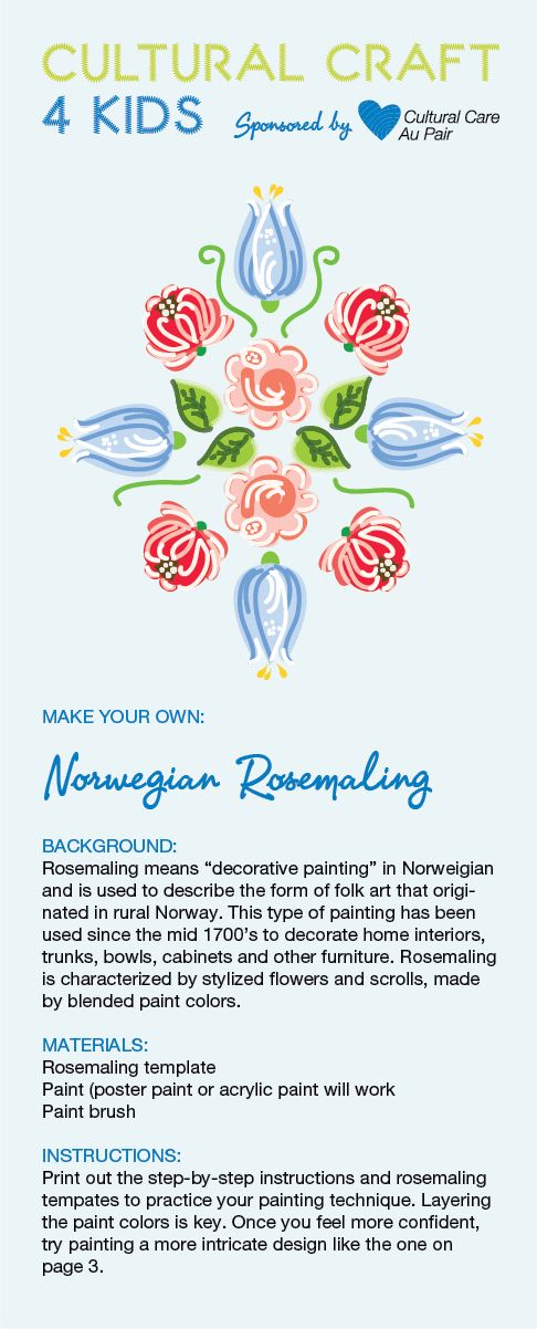 Try creating your own rosemaling art with Cultural Care Au Pair's rosemaling template.