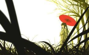 Обои девушка, японка, зонтик, бамбук