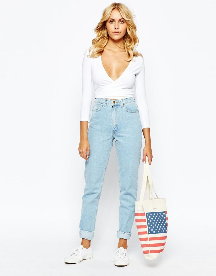 Image 1 of American Apparel High Rise Mom Jeans