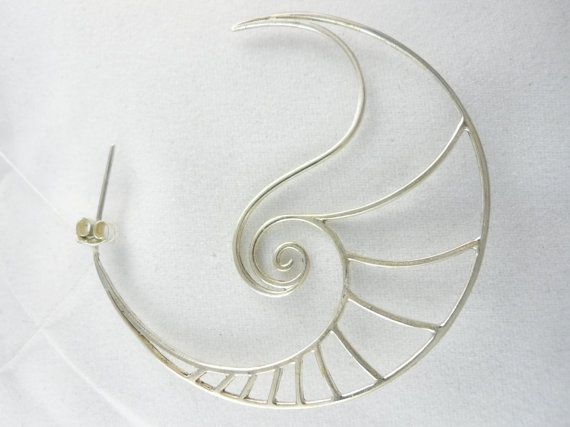Spiral Nautilus Large Hoop Earrings