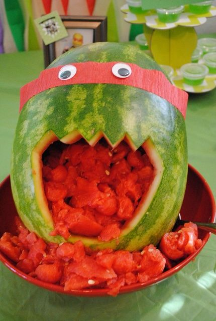 Watermelon Teenage Mutant Ninja Turtle! See more party ideas at CatchMyParty.com!